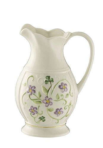 Belleek Pottery Floral Irish Flax Pitcher by Belleek Pottery