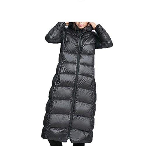 -jackets LR New Winter Women Ultra Light Duck Down Coat Hooded 90% White Duck Down Parka Warm Snow Jacket Medium Long Slim Overcoat 1 XXL ()