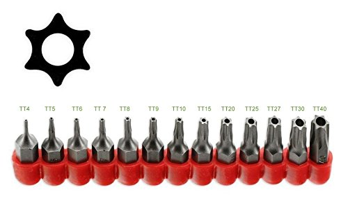 - ALAZCO Multifunction 13pc Tamper Proof 6 Point Star Torx Driver Bit Set - Fits ¼