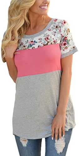 HOTAPEI Women Casual Floral Print Short Sleeve Colorblock Blouse Tops