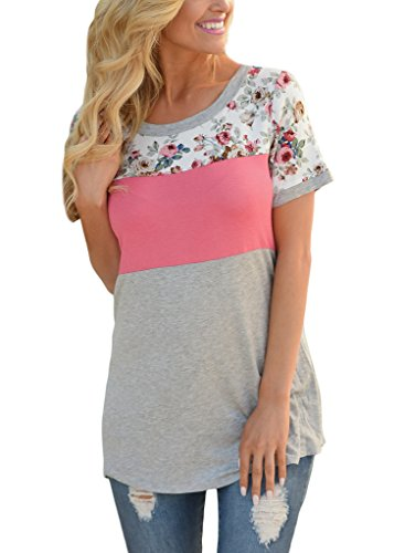 HOTAPEI Women Casual Floral Print Short Sleeve Color Block Shirts Blouse Tops Pink Large