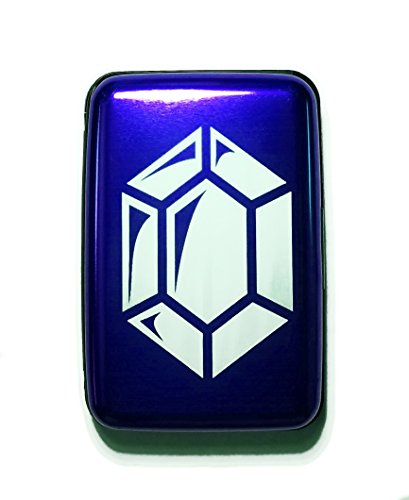Fantasy Game Gem Currency, Video Game Rupee Coin - Aluminum Hard Credit Card Wallet (Blue)