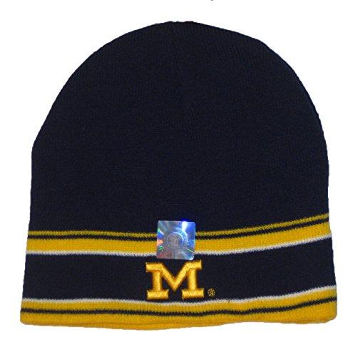 Michigan Wolverines NCAA Navy Double Stripe Knit Beanie Hat Double Stripe Beanie