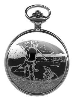 Dakota: Stainless Steel Etched Golfer Pocket Watch, Watch Central