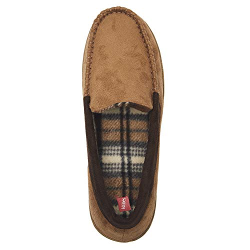 Image of Hanes Men's Moccasin Slipper House Shoe with Indoor Outdoor Memory