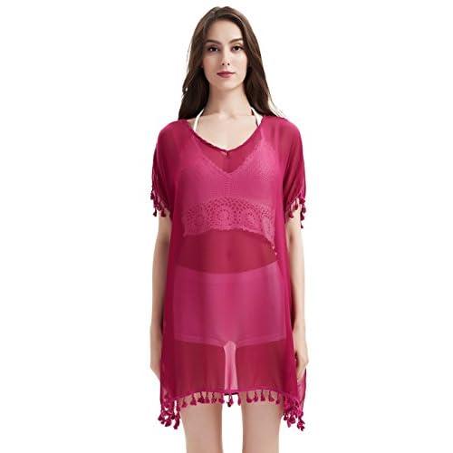 Ferand Robe de Plage Elégante Tunique Transparente en Mousseline Cache Maillot Léger à Franges - Femme