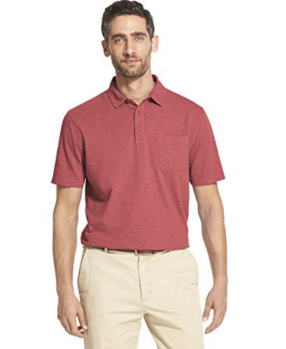 IZOD Men's Saltwater Dockside Short Sleeve Slub Solid Polo, Rapture Rose, X-Large ()