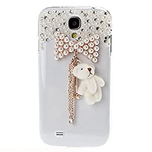 DIY 3D Crystal Pearl Bowknot Tassels with Bear Hard Case Back Cover for Samsung Galaxy S4 I9500