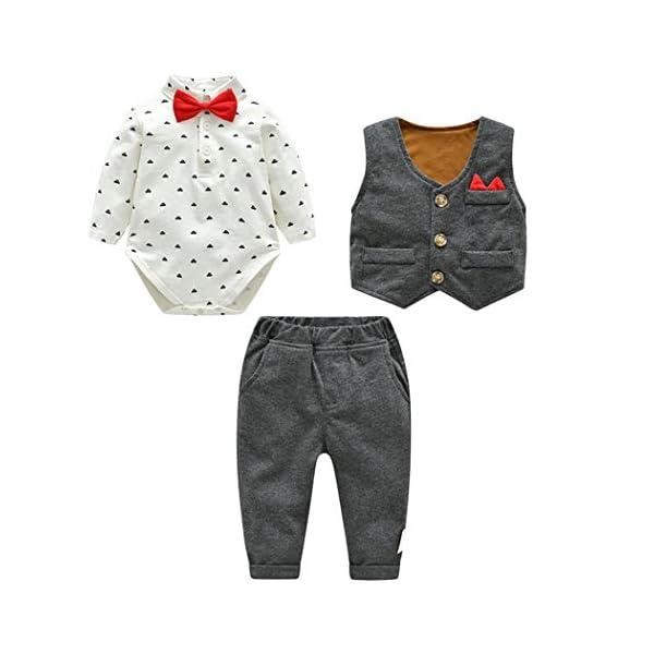 Fairy Baby Neonati 3 Pezzi Vestito Formale Toddlers Gentleman Body + Vest + Pants 1