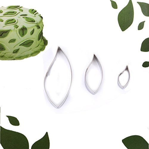 KookieMonsta Stainless Steel Leaves Shaped Cookie Cutter Set for Fondant Candy Pastry Design and Cake Decoration (3, Leaf Shape)