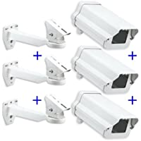 (3-Pack)of 11 Inch Security Camera Housing Enclosures & 10 Arm Brackets for Outdoor CCTV Brick Style Surveillance Camera