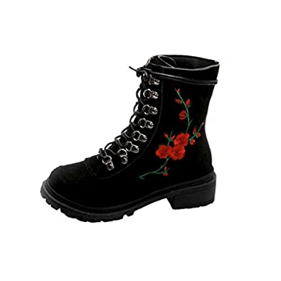 9c7c3e67a79c0 Amazon.com | FENZL Women's Floral Print Lace Up Ankle Biker Boots ...