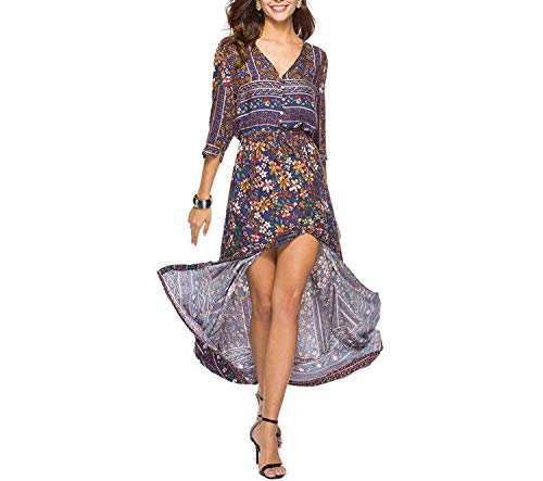 - Sexy Print Long Women Dress Elegant Maxi Vintage Fashion Beach Robe Bohemian Vestidos Casual Clothes,-010Style Twelve,XL