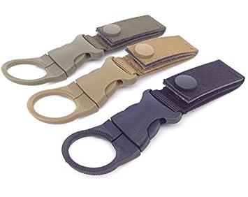 Water Bottle Holder Outdoor Carabiner Nylon Key Hook Molle Webbing Strap Hanging System Belt Buckle Durable Portable Hook Travel Tool Clip