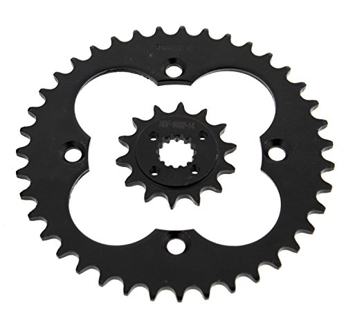 2005-2008 Fits Honda TRX400EX 400EX 14 Tooth Front & 39 Tooth Rear Black Sprocket ()