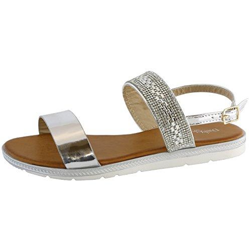 DailyShoes Women's Casual Flat Sandals Mid-Foot Rhinestone Strap- Great Spring Summer Casual Wear, Silver GL, 7.5 B(M) ()