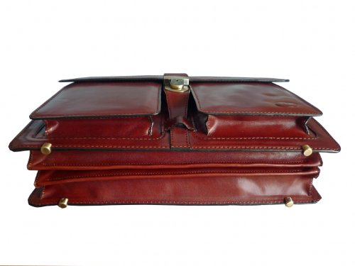 Ceancarel - Serviette en cuir 3 compartiments - Coloris fauve