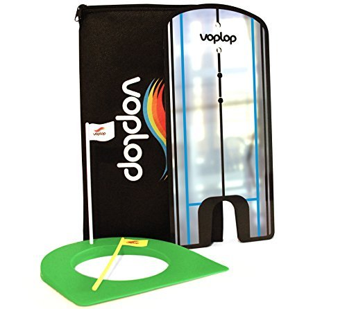 Golf Putting Alignment Mirror by Voplop – BONUS FREE Golf putting cup ($10 Value) – Training Golf Tool – Great Gift Idea