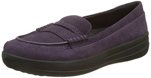 Fitflop Fsporty TM Penny, Mocassini Donna Viola (Deep Plum Snake Embossed)