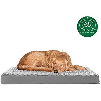 Furhaven Pet Dog Bed | Deluxe Orthopedic Mat Ultra Plush Faux Fur Traditional Foam Mattress Pet Bed w/ Removable Cover for Dogs & Cats, Gray, Large