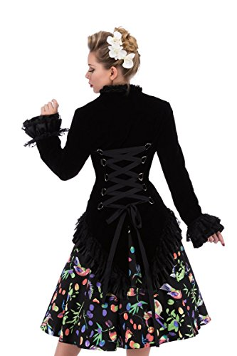 Hearts & Roses Womens Velvet Victorian Steampunk Tailcoat Corset Back (US 16, Black)