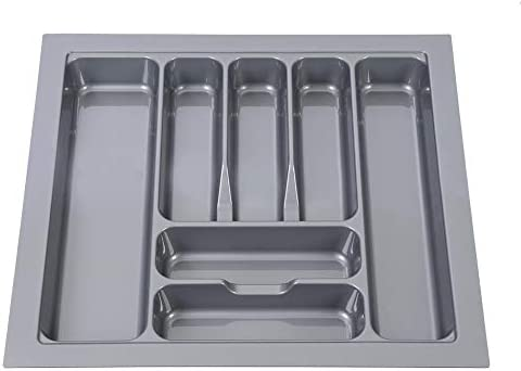 Bandejas de Cubiertos de Caj/ón de 800 mm Cuchillos y Tenedores Organizador de Cajones de Almacenamiento para Cocina,9 Compartimentos,73 x 48 x 6 cm Gris