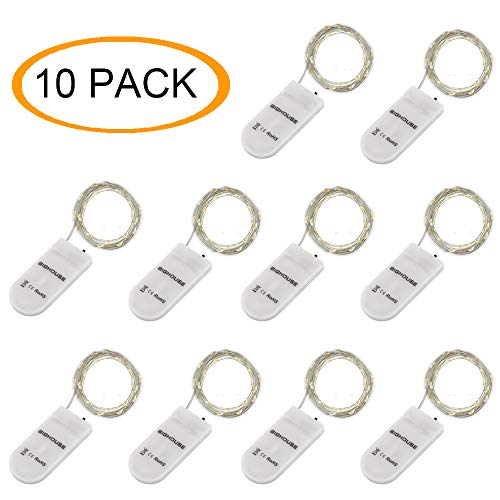 (BIG HOUSE Fairy Lights, 10 Pack 7.2 Feet Battery Operated String Lights, Mini Copper Wire Firefly String Lights for Bedroom Indoor Outdoor Wedding Mason Jar Dorm Decor DIY Costume, Cool)