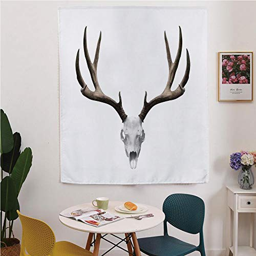 Antlers Decor Blackout Window curtain,Free Punching Magic Stickers Curtain,A Deer Skull Skeleton Head Bone Halloween Weathered Hunter Collection Decorative,for Living Room,study, kitchen, dormitory, -