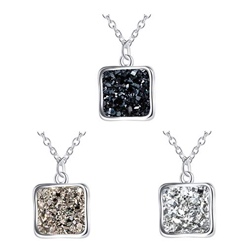 """MissNity Rainbow Druzy Necklace with Square Pendant Silver Plated BFF Necklace for 3 Graduation Gifts, 18"""" (Silver Plated Square Necklace)"""