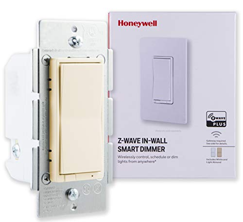 (Honeywell Z-Wave Plus Smart Light Dimmer Switch, In-Wall, Ivory, White & Light Almond Paddles | Built-In Repeater & Range Extender | ZWave Hub Required - SmartThings, Wink, Alexa Compatible, 38223)