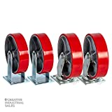 8' X 2' Swivel Casters Heavy Duty Polyurethane Wheel on Steel Hub (2) and Rigid (2) 1400lb Each