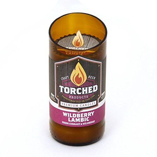 Torched 8 Ounce Beer Bottle Premium Candles - 60 Hour Burn Time - Wildberry Lambic -