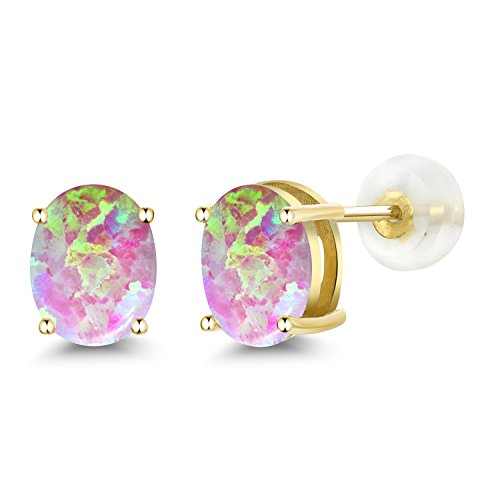 Gem Stone King 2.10 Ct Oval Cabochon 8x6mm Pink Simulated Opal 14K Yellow Gold Stud Earrings