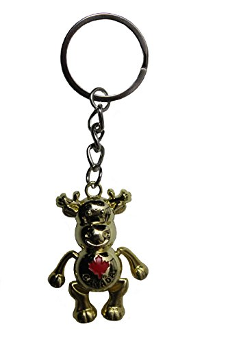 CANADA Red MAPLE LEAF , GOLD MOOSE Metal KEYCHAIN..Size : 1 1/2