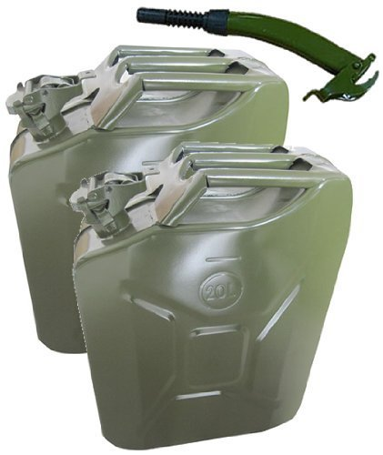 2 x Green 20 Litre Jerry Can with Spout Fastcar