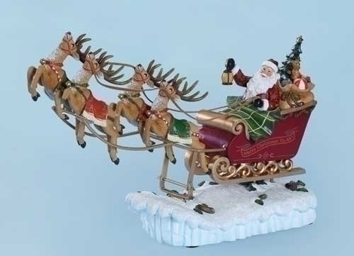 Santa in His Sleigh with Reindeer Rocking Musical Christmas Figurine - Plays Tune We Wish You A Merry Christmas by Roman