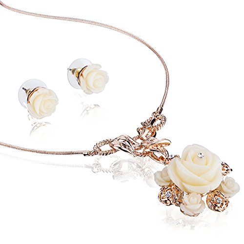 Janeojewels Premium Swarovski Crystal Element Vintage Elizabethan Mother of Pearl Shell Flower Pendant Necklace & Earring Jewellery Set. 14K Rose Gold Under $30, Christmas, Anniversary, Gift (Elizabethan Chandelier Light)