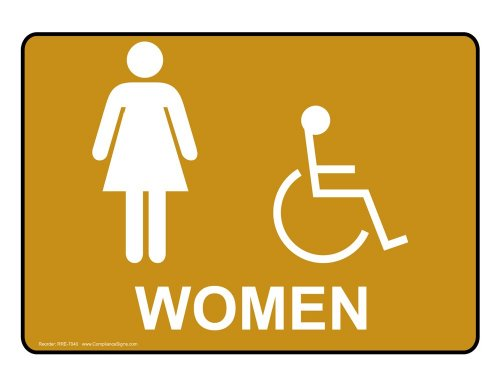 ComplianceSigns Vinyl ADA Restroom Label, 5 x 3.5 in. with Womens / Girls Info, 4-Pack - Kids Info Gold For