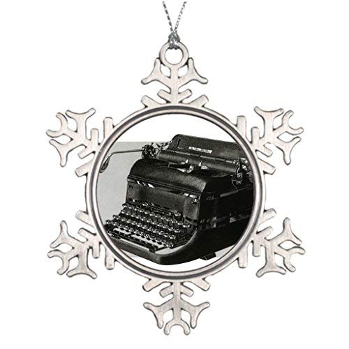 OneMtoss Christmas Snowflake Ornament Ideas for Decorating Christmas Trees Nostalgia Vintage Business Office Giant Manual Typewriter Home Christmas Decorations -