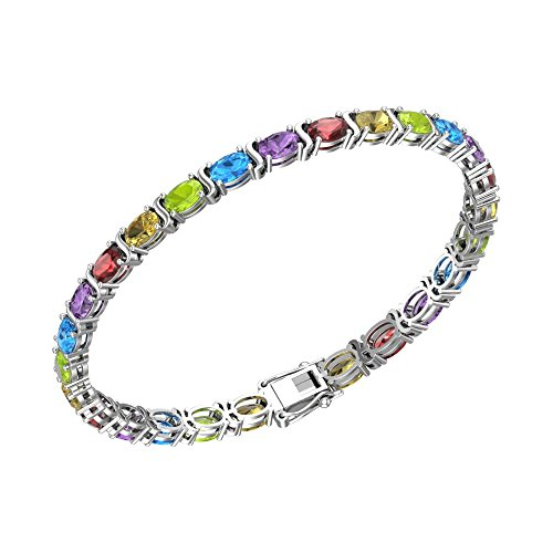 (11.00ct Multi Gemstone Tennis Bracelet in Solid Sterling Silver)
