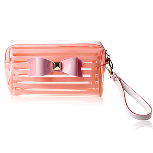 Women-PVC-Stripe-Bowknot-Zipper-Portable-Multifunctional-Travel-Handbag-Storage-Bag-Travel-Cosmetic-Makeup-Case-Coin-Purse-Toiletry-Bag-Pink