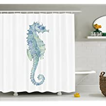 Ambesonne Animal Decor Shower Curtain by, Profile Picture of a Seahorse in Paintbrush Watercolor with Haze Effects, Fabric Bathroom Decor Set with Hooks, 70 Inches, Light Blue Green