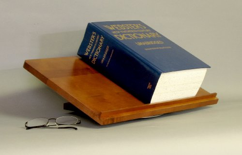 Swivel Dictionary Stand, Large, Solid Hardwood with a Honey Finish MADE IN USA by Woodform
