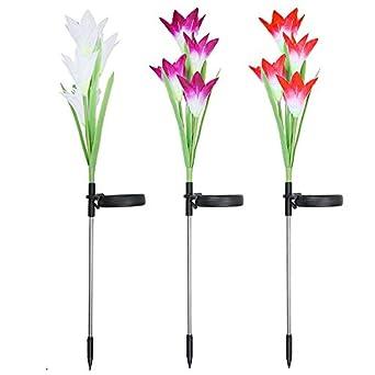 SZFREE luces de jardín solares, 4 cabezales de flores de lirio con ...