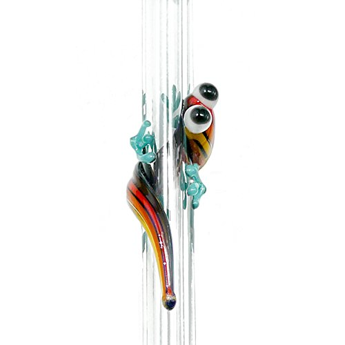 Hummingbird Glass Straws 9 in x 9.5 mm Rainbow Gecko Made With Pride In The USA - Perfect Reusable Straw For Smoothies, Tea, Juice, Water, Essential Oils - With Cleaning -
