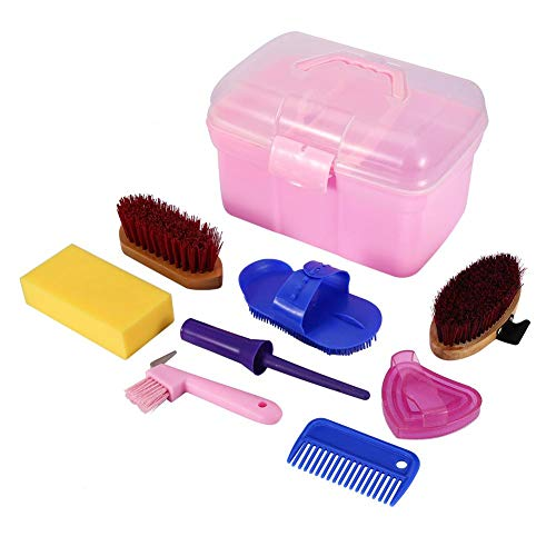 Tools Grooming Care Series Equine (8-Piece Horse Grooming Kit Equine Care Series Equestrain Brush Curry Comb Horse Cleaning Brushes Set Horse Pony Comfort Massage Tool with Storage Box)