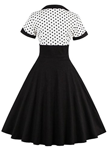 Dress Black Swing Vintage Nihsatin Audrey Rockabilly Hepburn Style Women's Atwqq0xY8