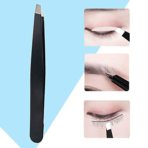 2021NEWEST SHZDMH Slant Tip Tweezer, stainless steel eyebrow trimming and makeup tools, Hair Plucker for Facial Hair, Eyelash, Brow Shaping