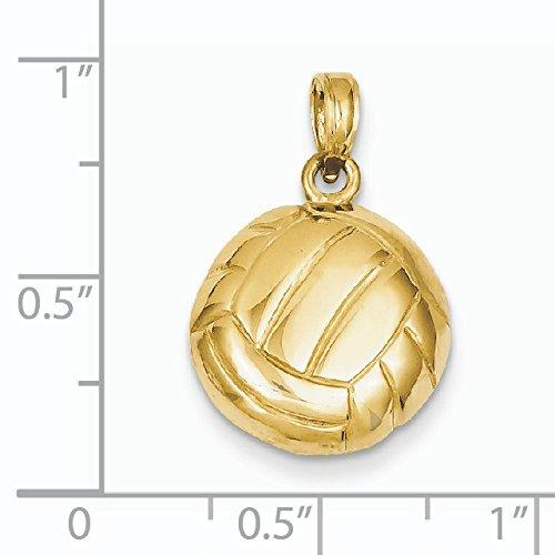Or poli 14carats Collants de volley-ball Pendentif-Mesures 23,1x 15.3mm
