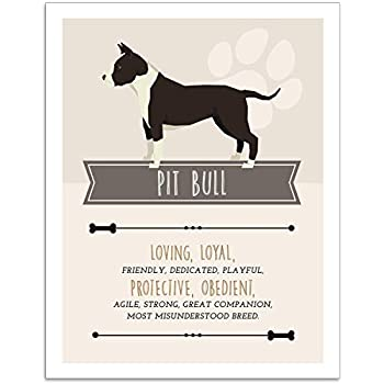 Pit Bull Dog Wall Art - 11x14 Unframed Decor Print - Makes a Great Gift Under $15 for Dog & Pet Animal Lovers